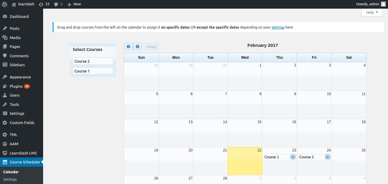 calendar page for Course Scheduler for LearnDash