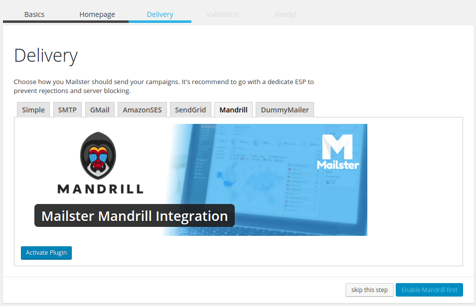 mandrill mailster integration