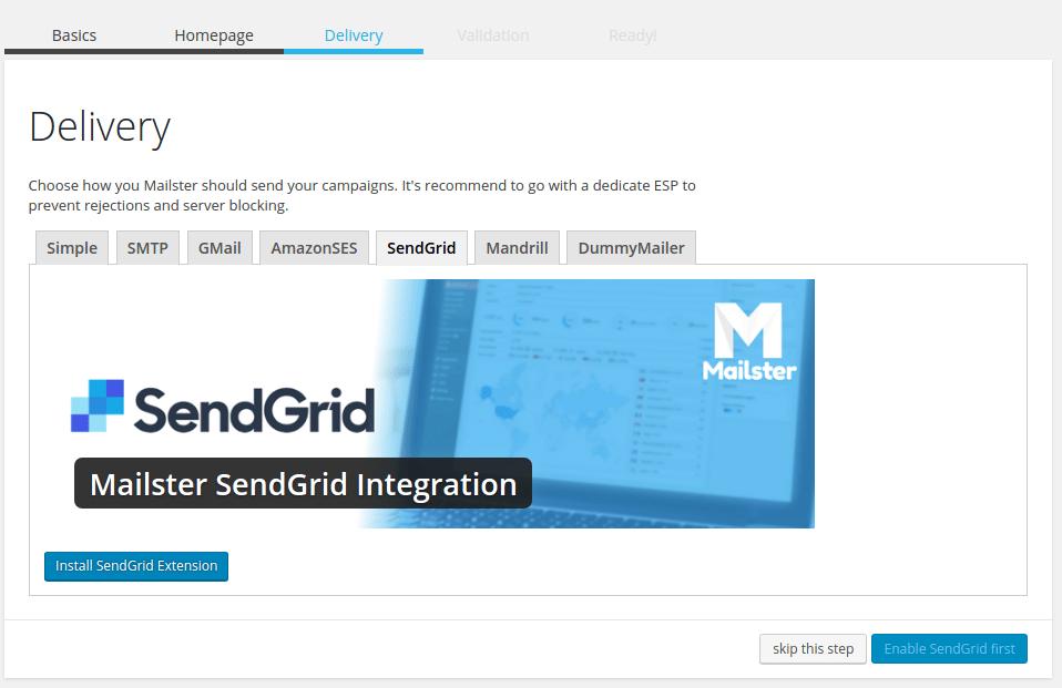 sendgrid mailster integration
