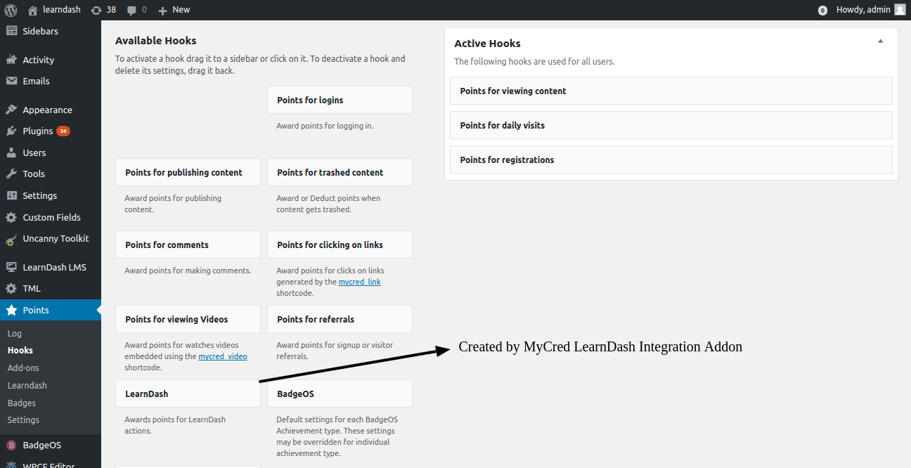 LearnDash myCRED hook option