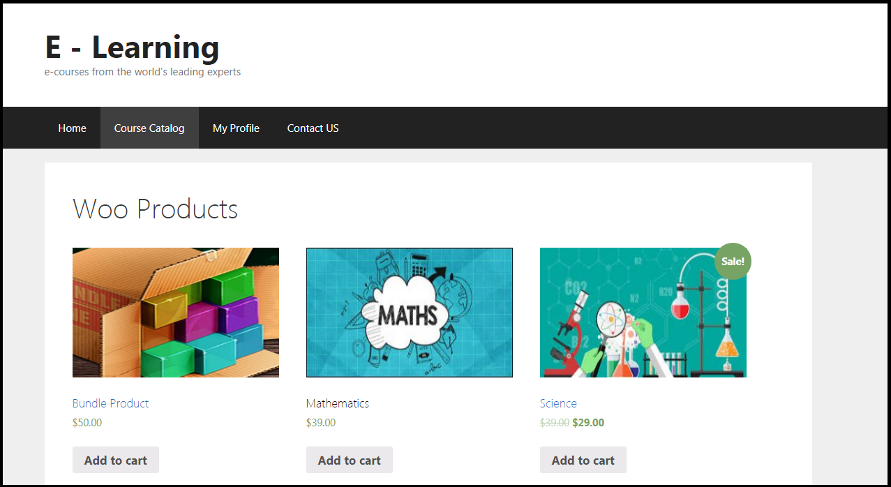 Products Listing Page