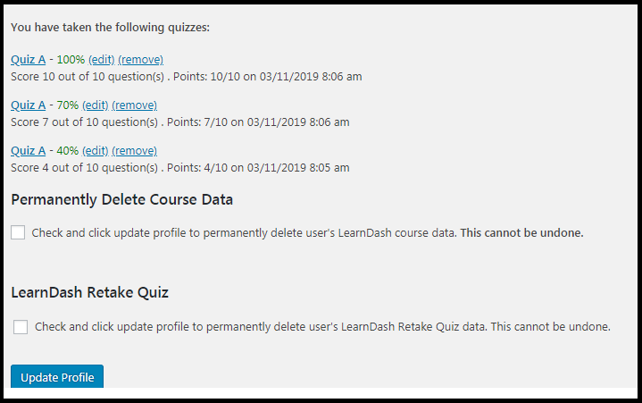 LearnDash Quiz Retake Profile Options and Stats