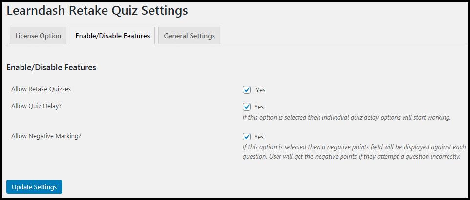 LearnDash Retake Quiz Enable/Disable Features