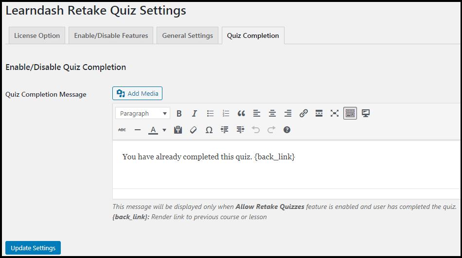 LearnDash Retake Quiz Completion Message