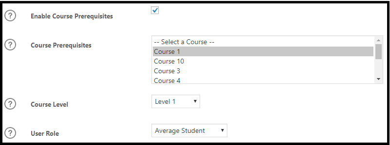 Child Course Settings