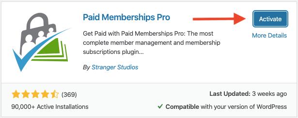 pmpro wordpress activate plugin