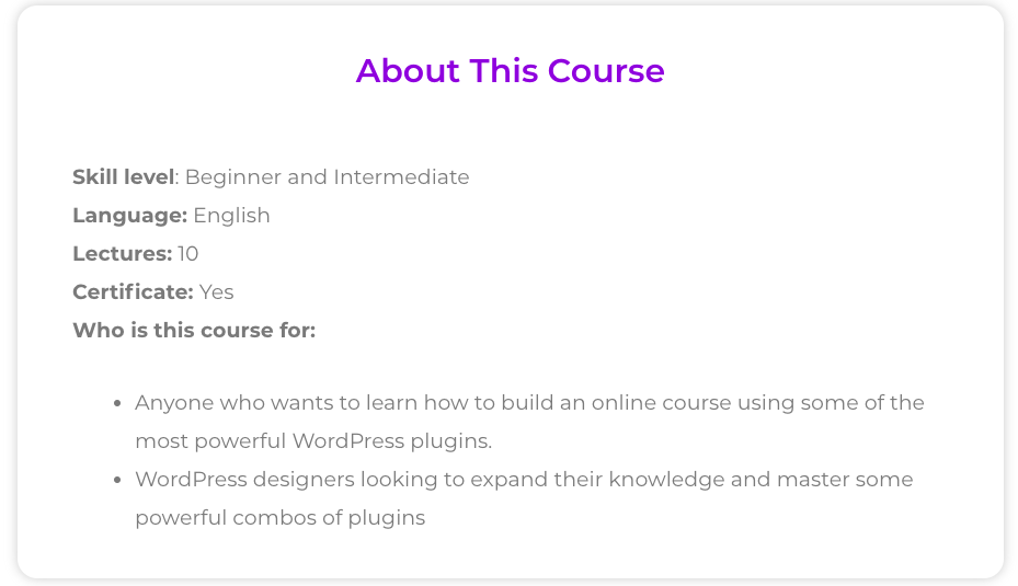 course page with elementor