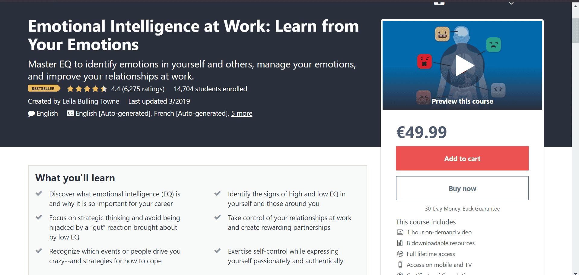 udemy course description page