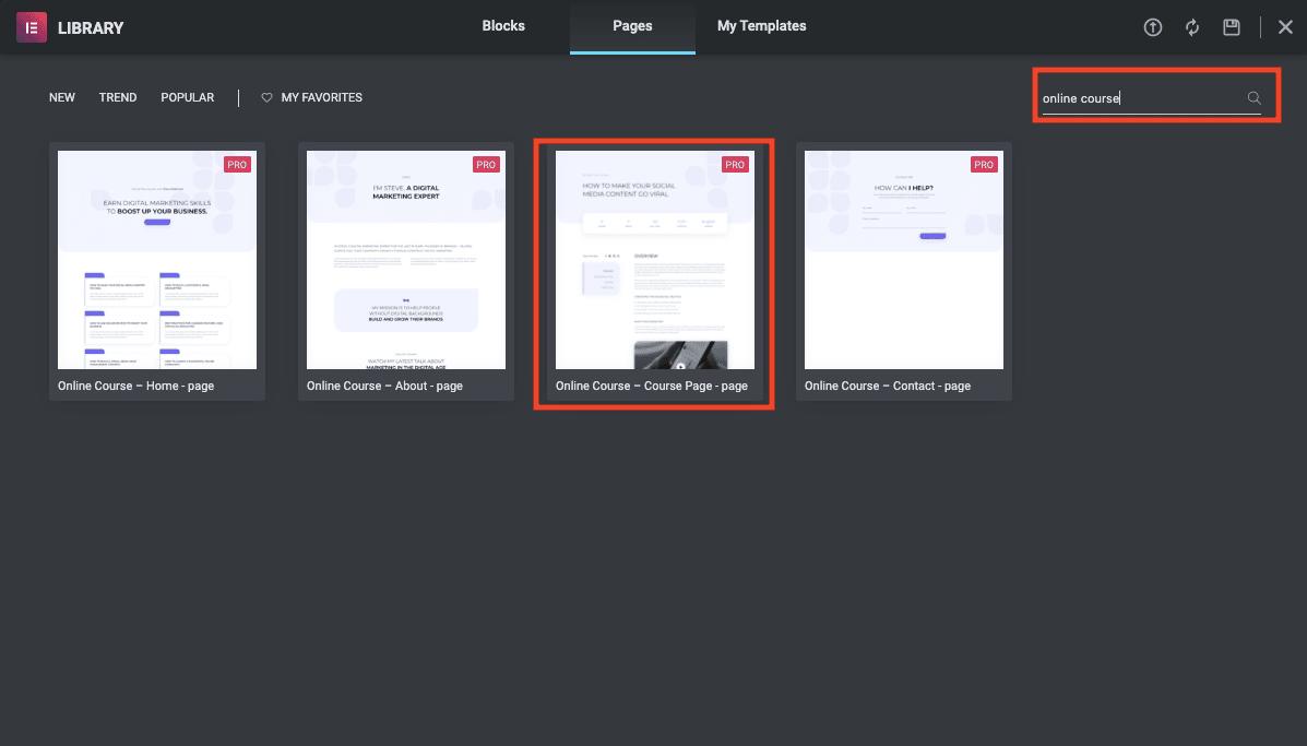 course description page with elementor