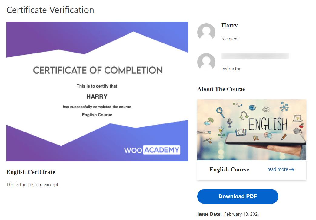 learndash certificate verification