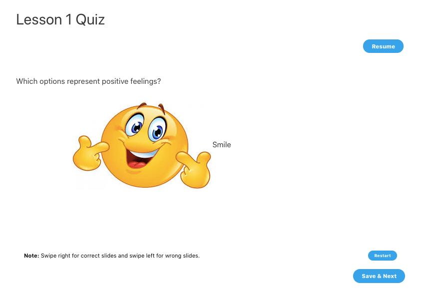 swipe question learndash quiz